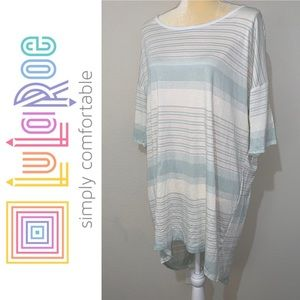 LuLaRoe Irma Stripes High Low Oversized Shirt Sz L